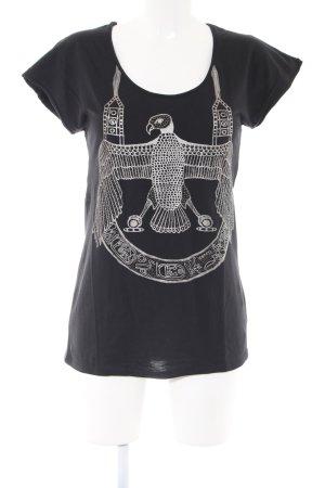 Zara Print-Shirt schwarz Motivdruck Casual-Look
