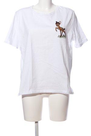 Zara Print-Shirt weiß-braun Motivdruck Casual-Look