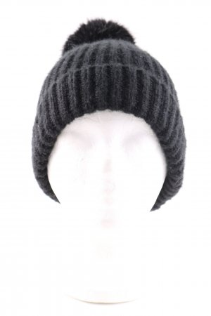 Zara Bobble Hat black cable stitch casual look