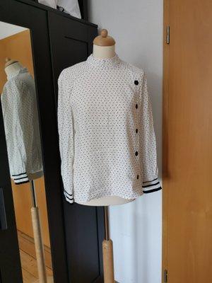 Zara Blusa de manga larga blanco-negro