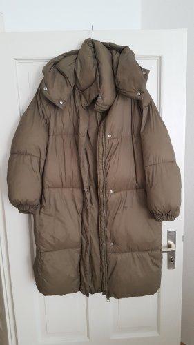 Zara Hooded Coat khaki-green grey nylon