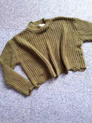 Zara Pullover a maglia grossa verde oliva
