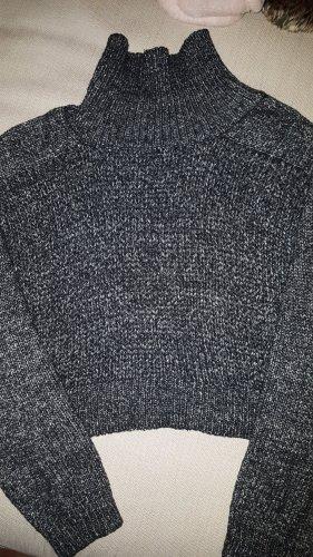 Zara Knit Jersey de cuello alto negro