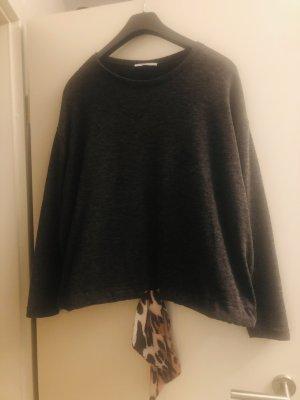 Zara Basic Sweter bez rękawów z cienkiej dzianiny ciemnoszary