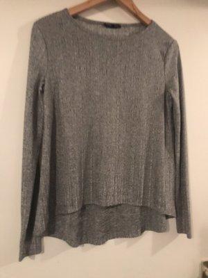 Zara Sweter bez rękawów z cienkiej dzianiny srebrny