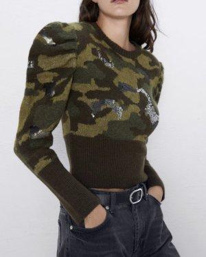 Zara Pulli Puffärmel Pullover Camouflage Pailletten Strickpulli Khaki grün braun S cropped Blogger