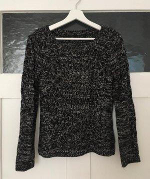 Zara Pulli Pullover Shirt Langarm Strick Schwarz Weiß Grau Meliert Zopfmuster XS 34