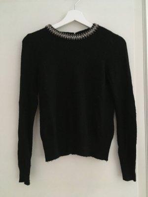 Zara Pulli Pullover Shirt Wolle Schwarz Glitzer Glitzerkragen Silber XS 34 NEU
