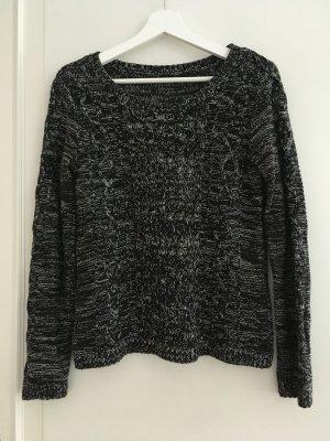 Zara Pulli Pullover Sweater Strickpulli Zopfmuster Schwarz Weiß Meliert XS 34