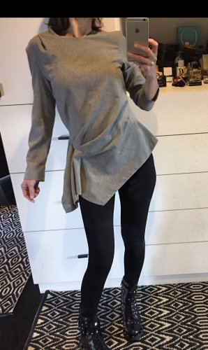 Zara Pulli Pullover  Woll Top Shirt Oberteil Bluse Raffungen asymmetrisch S M 36 38 grau