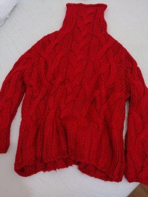 Zara Jersey de cuello alto rojo oscuro
