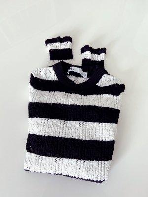 Zara Szydełkowany sweter biały-czarny