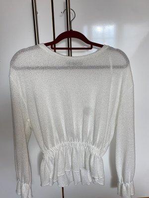 Zara Sweter z okrągłym dekoltem biały-w kolorze białej wełny