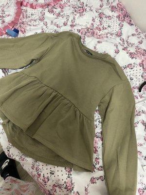 Zara Polarowy sweter zielono-szary-khaki