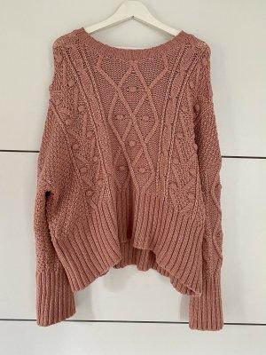 Zara Warkoczowy sweter różowy