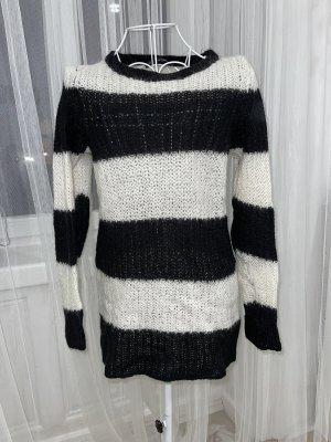 Zara Knit Jersey largo negro-blanco