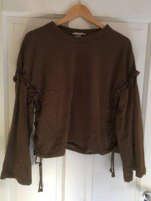 Zara Crewneck Sweater ocher-black brown