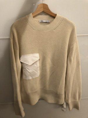 Zara Pullover beige mit Tasche