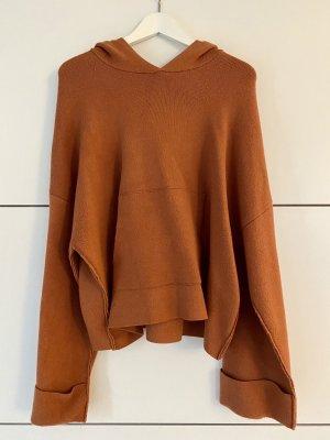 Zara Sweter z kapturem ciemny pomarańcz