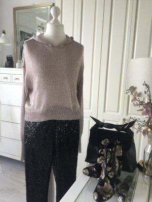 Zara Pullover Hoodie Strick Lyrex Roségold Gr. L neu mit Etikett