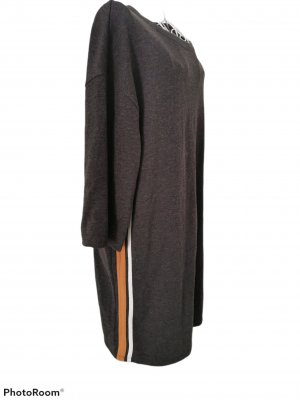 Zara Trafaluc Robe pull gris foncé-brun sable