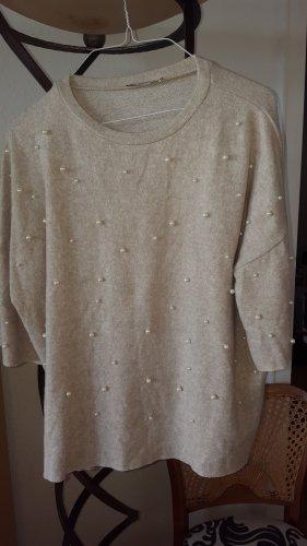 Zara Pullover mit Perlen creme Gr.S