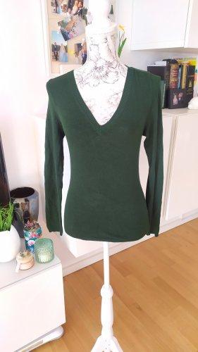 Zara Pullover mit V-Ausschnitt dunkelgrün S