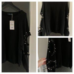 Zara Pullover oversize mit Perlen