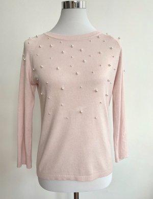 Zara Pullover S Rose Perlen Weiß