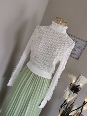 Zara Pullover Shirt weiss Spitze Rüschen Gr. M