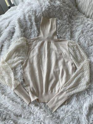 Zara pullover turtleneck Rollkragen Creme transparent Tüll strick Knit
