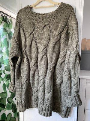 Zara Knit Cardigan a maglia grossa cachi