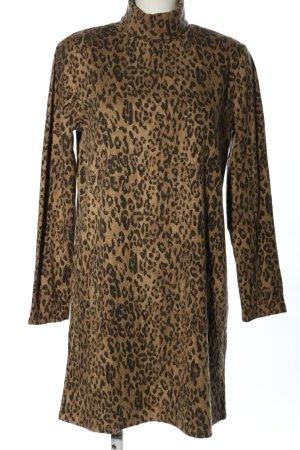 Zara Vestido tipo jersey marrón estampado repetido sobre toda la superficie