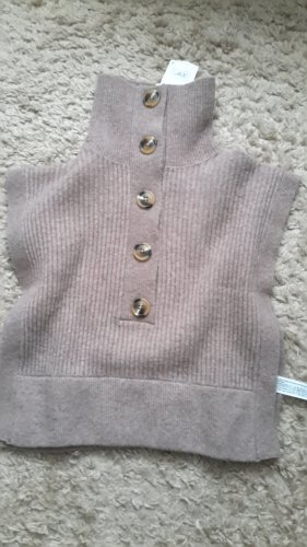 Zara Sweter bez rękawów z cienkiej dzianiny jasnobrązowy