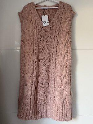 Zara Pullunder Pullover lange Weste mit Zopfmuster rosa Größe S