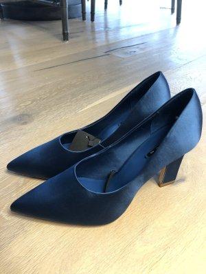 Zara Pumps blaue Absatzschuhe aus Satin Pumps Satin Schuhe Blaue Schuhe Abendschuhe Sommerschuhe Gr 40