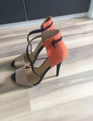 Zara Pumps High Heels Sandalen Peep Toes Stilettos 37 Beige Orange