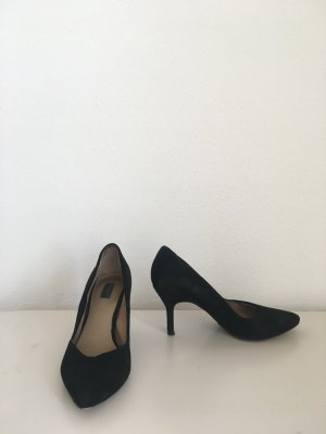 Zara Pumps spitz Midi Ansatz Stiletto Verlourslederoptik Velours Lederinnensohle zeitlos klassisch schick