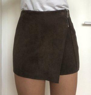 Zara Basic Broekrok donkerbruin-grijs-bruin