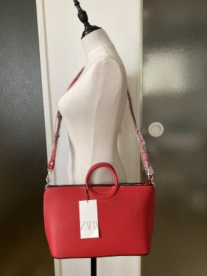 ZARA red city bag with braided handle *New*