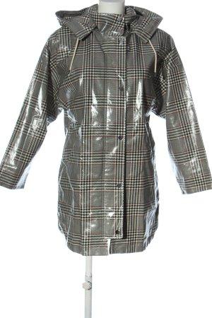 Zara Imperméable noir-blanc cassé imprimé allover style décontracté