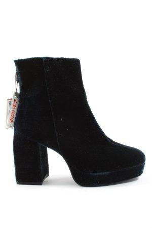 Zara Reißverschluss-Stiefeletten schwarz-blau Casual-Look