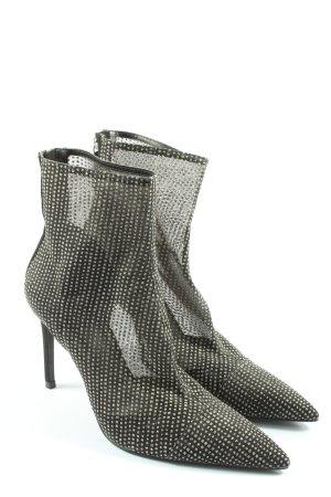 Zara Reißverschluss-Stiefeletten schwarz Allover-Druck Elegant