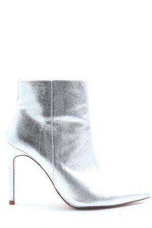 Zara Reißverschluss-Stiefeletten silberfarben Elegant