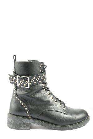 Zara Reißverschluss-Stiefeletten schwarz-silberfarben Casual-Look