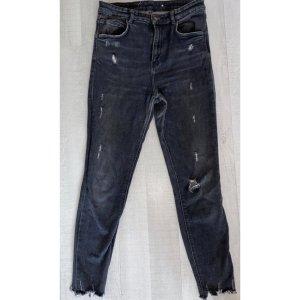 Zara Ribbed Skinny Jeans Highwaist Grau