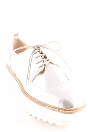Zara Richelieus Shoes silver-colored casual look