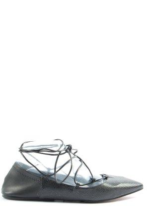 Zara Ballerines à lacets noir style décontracté