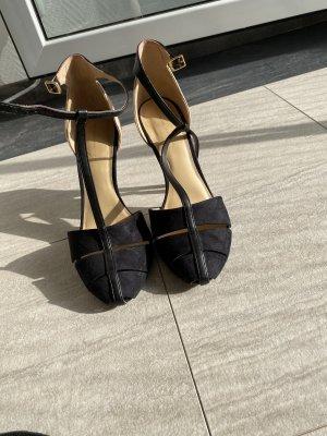 Zara Zapatos de tacón con barra en T negro-nude