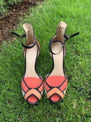 Zara Strapped pumps bright red-dark orange